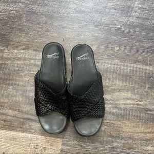 Dansko Black Slide On Sandals Size 9.5